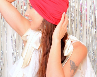 Fashion Turban in Red -  Women's Hair Wrap - Jersey Knit Head Covering - Lots of Colors