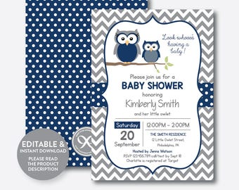 Instant Download, Editable Owl Baby Shower Invitation, Navy Owl Invitation, Boy Baby Shower, Owl Baby Sprinkle, Navy Gray Chevron (SBS.49)