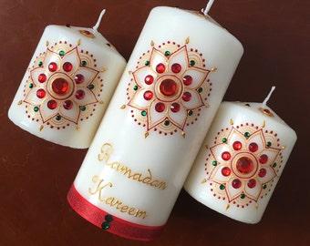 Ramadan Kareem, Ramdhan Mubarak, Ramadhan party, Eid, Eid Decor, Eid Party Table Display, Eid Festival, Ramadan Decoration, Set of 3 Candles