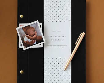 Modern Baby Book in Black - Baby Memory Book - Baby Boy Journal