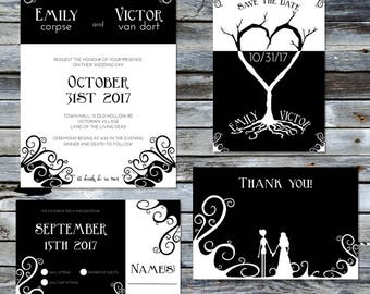 Corpse Bride Wedding Invitation Set ~Digital~