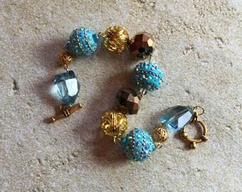 Blue and Gold Bracelet, Beaded Bracelet, Beadwork Bracelet, Statement, Trending, Gift Ideas, For Her, Womens Jewelry