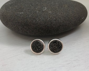 Charcoal Druzy Stud, Silver druzy stud,silver druzy post earrings,neutral earrings,every day earrings,gift for her, gift under 100,mom gift