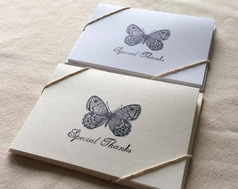 6 Butterfly Thank You Card Set, Butterfly Thank You Cards