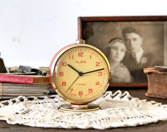 Red Vintage Clock - Table Clock - Small Desk Clock - Russian Alarm Clock - Gift For Dad - Housewarming Gift - Vintage Gift