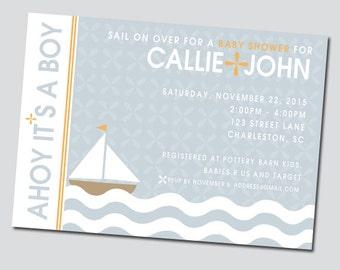 Sailboat Nautical Baby Shower Invitation