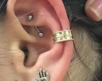 Fake Conch Piercing, Gold Fake Piercing, Faux Piercing, ear cuffs no piercing, goldfilled Lace Ear Cuff, Conch Cuff, ear wrap - EC8066