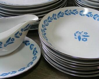 Vintage SOUP BOWLS Japan, Set of 2 Symphony In Blue Vintage Cornflower Dinnerware