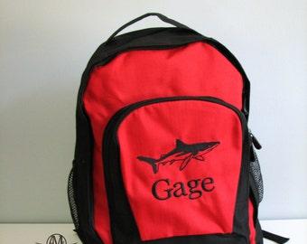 Personalized shark backpack,  boys backpack, personalized backpack, big school book bag,shark backpack