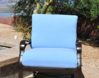 Outdoor Patio Slipcovers for 2 Piece Deep Seat in Air Blue, Sand, & Tangier