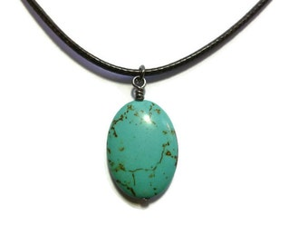 Blue Turquoise Oval Necklace ~ Large Oval Pendant ~ 24mm x 17mm Oval ~ 2mm Brown Braided Cord Necklace ~ Magnesite ~ Simple