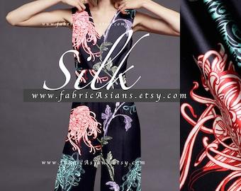 Chrysanthemum fabric black silk satin