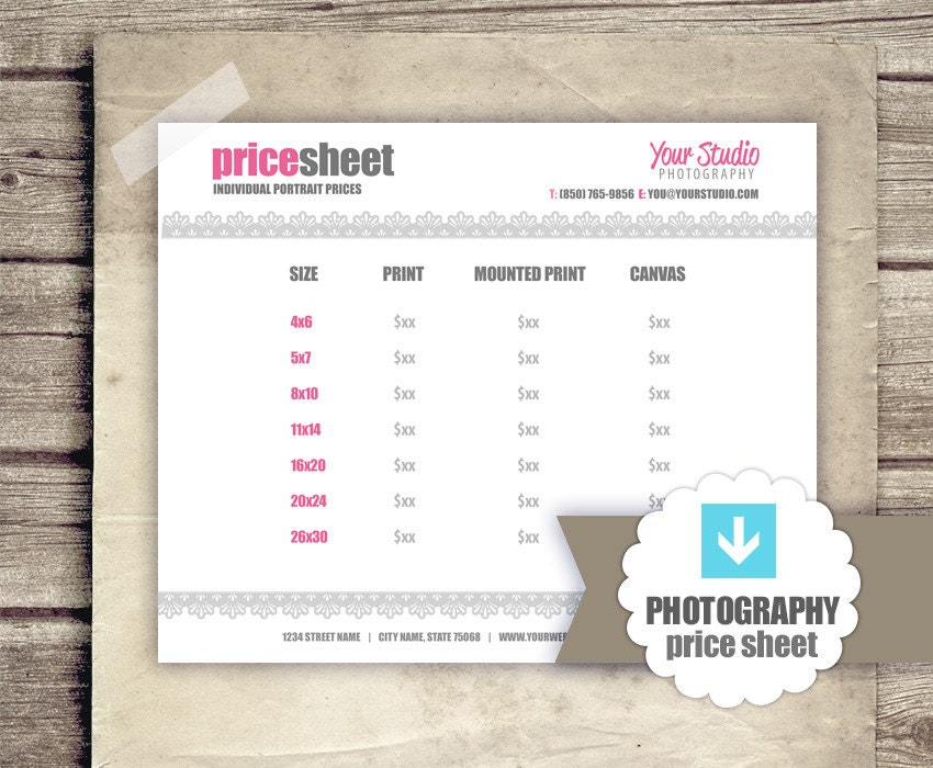 photography price list pricing sheet for photographers