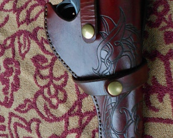 Leather Pistol Holster Celtic Two Headed Dragon Tooling Steampunk SASS Western