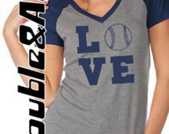 LOVE baseball tee, short sleeve raglan v-neck shirt, women's and juniors sizes