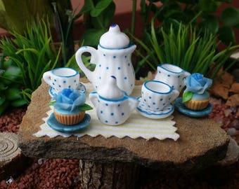 SALE!! Fairy garden miniature tea set, fairy garden coffee, dollhouse tea set, fairy coffee, fairy tea set, mini tea set, fairy garden kit