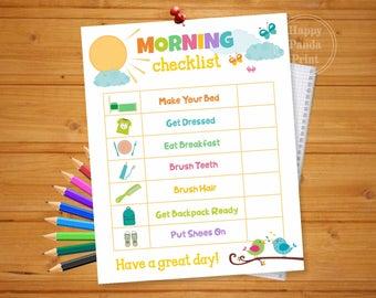 MORNING CHECKLIST Printable Morning Routine Checklist Morning Routine Chart To Do List Organization Printable Morning Chart Kids Charts