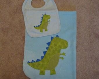 Dinosaur Baby Blanket and Bib Set - Tyrannosaurus Rex Soft Fleece Blanket and Knit Bib