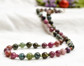 Natural pink and green tourmaline necklace with 925 sterling silver *Free worldwide shipping*