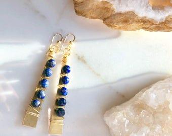 Lapis Lazuli Earrings, Lapis Lazuli Necklace, Natural Stone Jewelry, Blue Stone Earrings, Blue Gemstone Necklace, Boho Jewelry