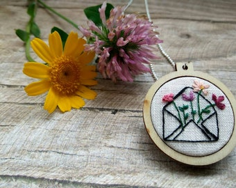 Hand embroidered wooden pendant-letter with flowers