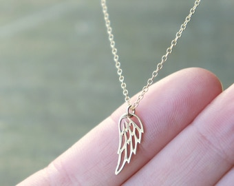 Golden Wing Necklace / Small Angel Wing Pendant on a Gold Filled Chain ... Options to Personalize