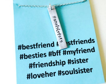 Best Friends Necklace, Soul Sisters Necklace, Soulsister Necklace, Best friend Necklace, Soulsister, Best friend Jewelry, Hashtag Jewelry