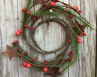 Pine, Rusty Star and Red Berry Candle Ring