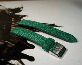 Green Stingray Watch strap, Handmade leather watch strap, Watch strap 20mm, 22mm, 24mm, Leather watch band, Stingray watch strap, Stingray