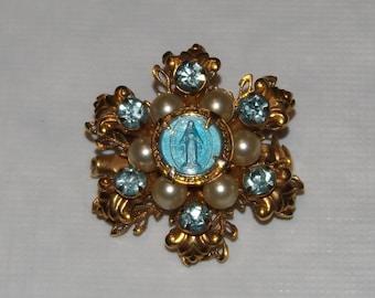 Vintage Catholic Blue Enamel Blue Rhinestones & Faux Pearls Brooch Pin