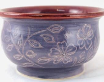 Wheel Thrown Pottery Stoneware Sgraffito Carved Bowl Flowers Blue Purple OOAK