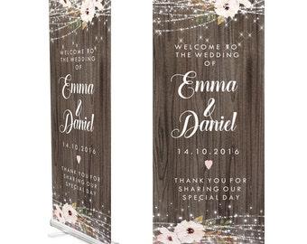 Dark Wood Wedding Welcome Sign / Roller Banner