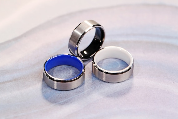 Blue, Black and White Color Ceramic Inside Tungsten Carbide Engraved Wedding Band Brushed - 8mm Available - Lifetime Size Exchanges