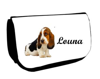 Black Basset hound /crayons make-up case personalized with name