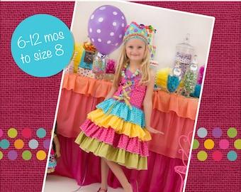 Primrose Ruffled corset princess Dress PDF Pattern sizes 6-12 months to 8