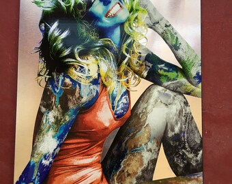 "Title: ""Proud Of What I Have"", Farrah Fawcett Red Swim Suit Earth Girl Goddess Metal Art"