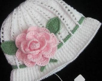 Crochet Cloche Sun Panama Hat, Crochet Flower Panama, Crochet Flower Sun Hat, White Cloche Hat for children Girl Hat with brim Baby Girl hat