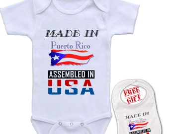 Made in puerto rico etsy newborn baby boys girls bowtie short sleeve romper bodysuit playsuit made in puerto rico assembled negle Gallery