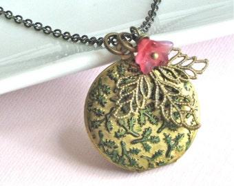 Leaf Locket Necklace - Patina, Flower