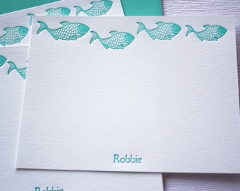 Personalized Letterpress Stationery Fish Aqua Blue