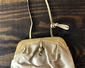 VTG 70er 80er Jahren Barbara Bolan in Italy Handtasche Handtasche Made Creme Elfenbein Beige