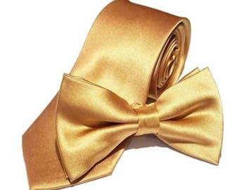 "Gold Wedding Tie or Bow Tie Groomsman Honey Gold Tie Slim or Regular 2.75"" or 3.5"" Groomsmen Neckties Bowties Best Man Usher Groom Yellow"