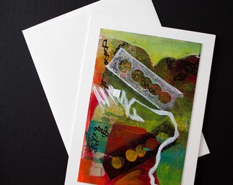 Hand Painted Free shipping  Original Abstract Painting Greeting Card for the Holidays, Acrylic Painting and Mixed Media, One Of A Kind