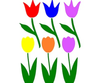 Spring Tulips with Grass Window Cling Set