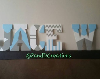 Hand Painted Custom Designed Wooden Letters for Nursery