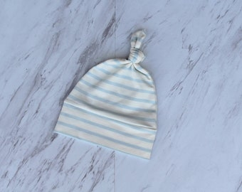 Baby boy hat blue stripes Newborn hat Top knot baby beanie Gift for new baby boy Take home hat Infant hat American baby blue stripe beanie