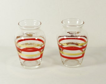 Pair – Miniature Striped Glass Vases