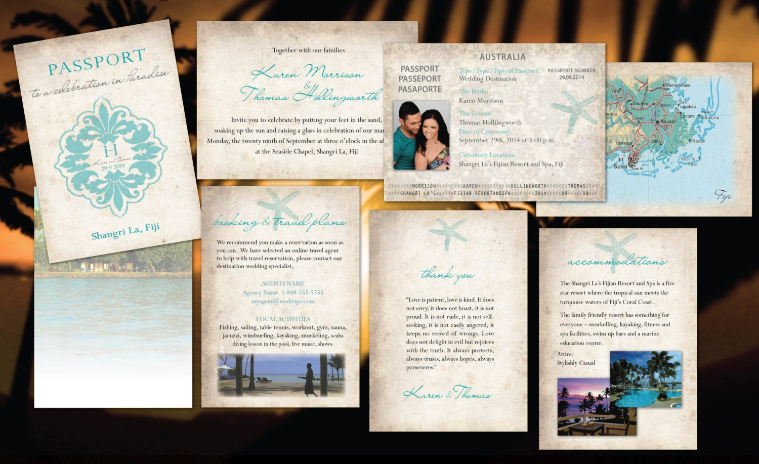 Passport Wedding Invitations // Paradise Destination Wedding