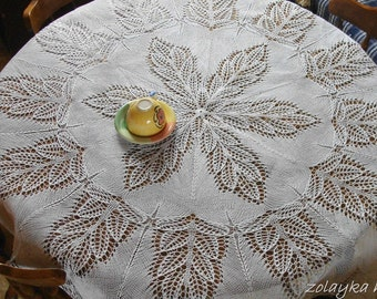 Round Lace tablecloth 60 inch hand knitted centerpiece New large table topper 60 inches table overlay white cotton tablecloth Free Shipping