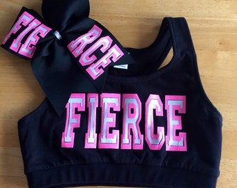 FIERCE sports bra | matching cheer bow | cheer sports bra | pink glitter bra | cheerleading uniform | youth and adult size sports bra | gift